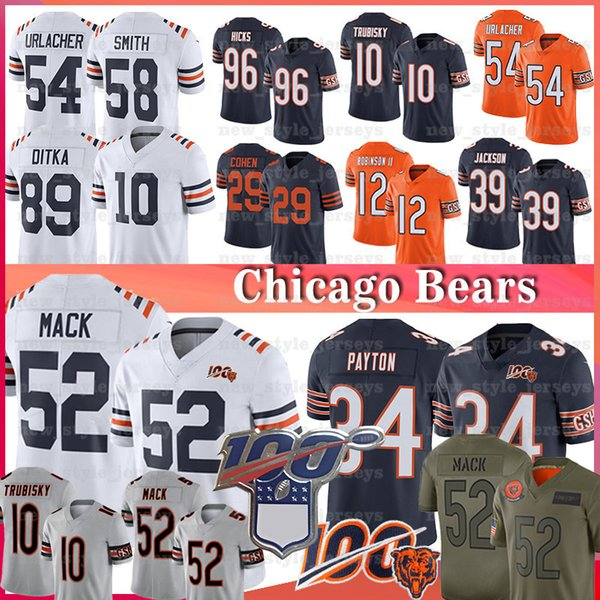 top popular 52 Khalil Mack Jersey Bear 34 Walter Payton 10 Mitchell Trubisky Jackson Eddie Tarik Cohen Brian Urlacher Roquan Smith 32 DAVID MONTGOMERY 2019