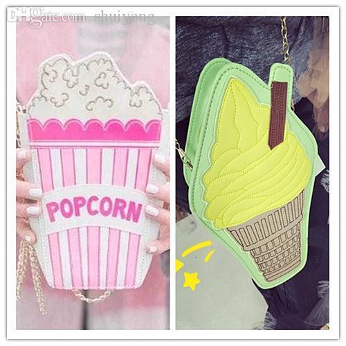 Nice-New Fashion Personality Ice Cream Popcorn Embroidered Shape Chain Shoulder Bag Messenger Bag Lady Handbag Clutch Purse 11 Colors