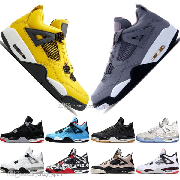 Cheap 2019 New Bred 4 IV 4s What The Cactus Jack Laser Wings Mens Basketball Shoes Denim Blue Pale Citron Men Sports Designer Sneakers 36-47
