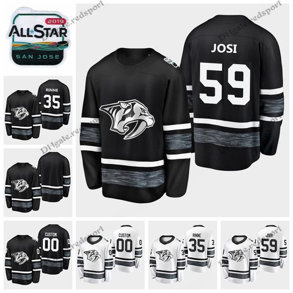 2019 All Star Nashville Predators Hockey Jerseys Mens Black White Customize All-Star Hockey Shirts 35 Pekka Rinne Stitched Jerseys S-XXXL