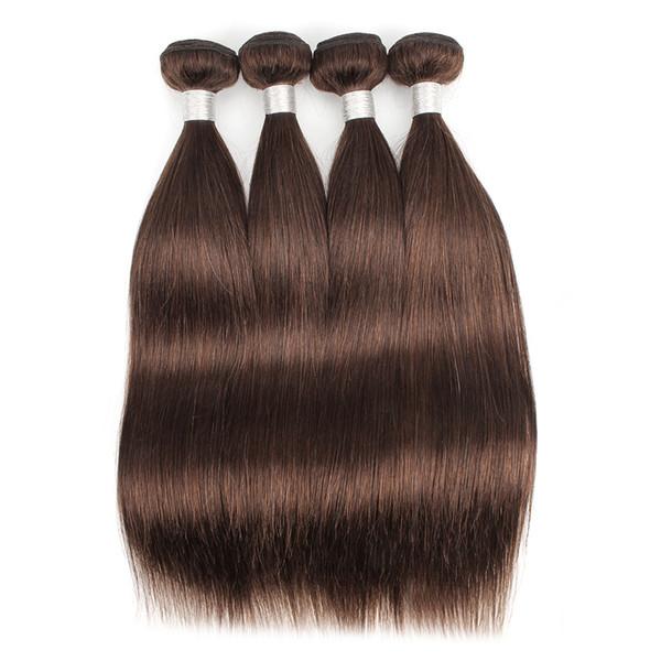 Color 4 Medium Brown Straight Hair Bundle Deals Brazilian Virgin Human Hair Weaves 3/4 Bundles 12-24 inch 100% Remy Human hair extensions
