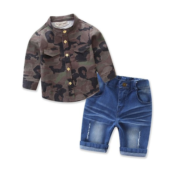 2pcs Toddler Kids Child Baby Boy Camo Shirt Tops Jeans Denin Pants Outfits Summer 2pcs Set Casual Clothes