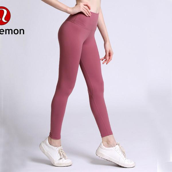 YHigh Cintura Mujeres pantalones de yoga Color Sólido Deportes Gym Wear Leggings Elástico Fitness Lady Medias Completas Completas Entrenamiento lu-08