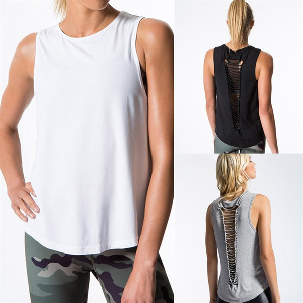 2018 Women's Sexy Cutout Backless Tank Tops Vest Sleeveless Fitness Shirts Tight Tanks Singlets Running Tank Top #198226