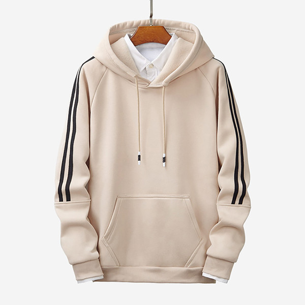 Men's Hoodie Sports Hoodides Pure Color Stripe Stitching Comfortable Guards Hoodies Men Hooded Sweatshirt 2019 Blouse Pullover