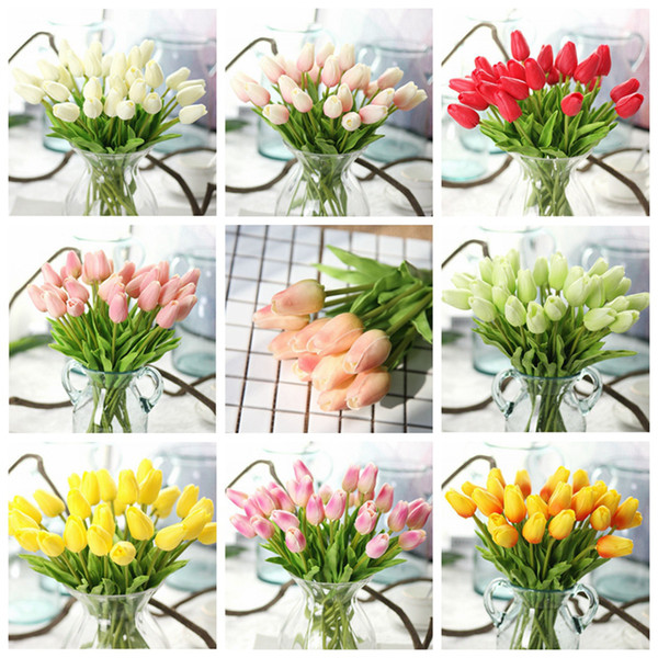 Home Decor Pu Stunning Holland Mini Tulip Flower Real Touch Wedding Flower Artificial Flowers for Party Room Home Hotel Event RRA2439