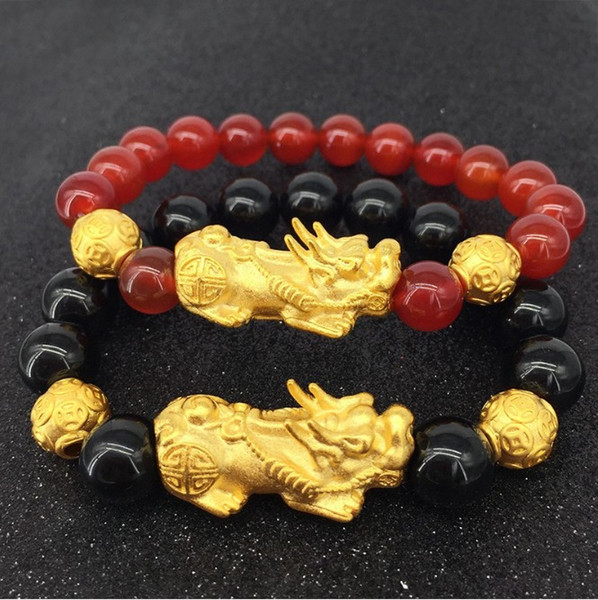 YT02 Feng Shui authentic men and women fashion red and black beads six-character gold beads pixiu bracelet