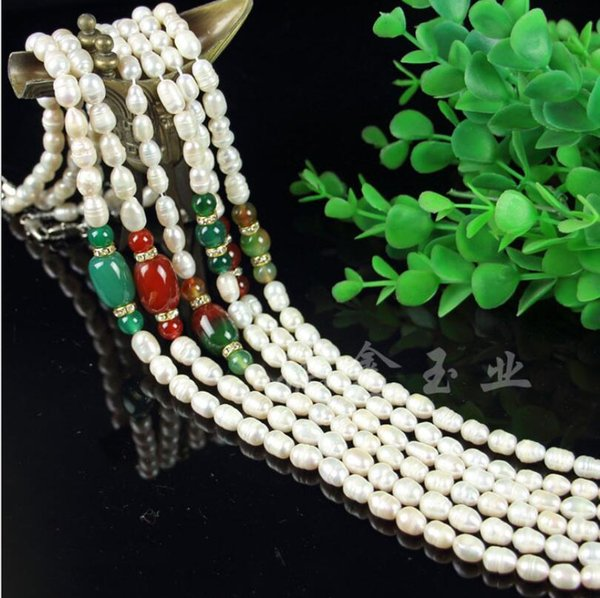 Natural Pearl Necklace Thread Freshwater Pearl Necklace Plus Agate Bucket 7-8m