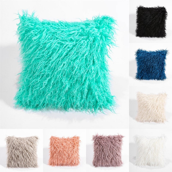 solid color plush pillowcase car casual faux fur plush throw pillow slip home seat waist pillow cover case 45*45cm