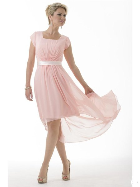 Hot Pink Modest Bridesmaid Dresses Long With Short Sleeves Chiffon Cap Sleeves Short Front Long Back Country Bridesmaids Party Dresses