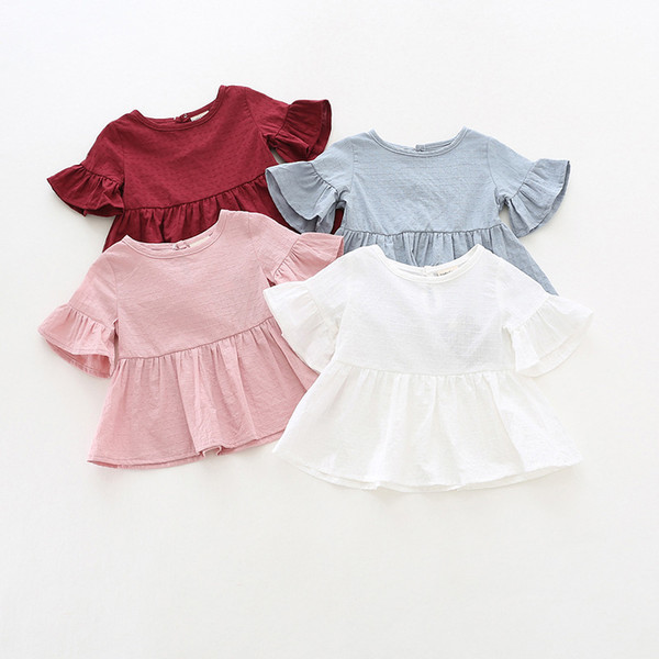 Ruffle sleeves 100% cotton top t-shirt baby girl solid short sleeve t shirt kids o-neck toddler shirts summer girls t shirts