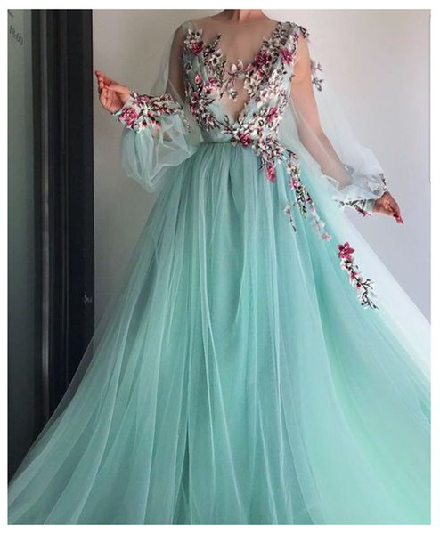 Lorie Long Sleeves Evening Dress Party Gowns Robe De Soiree Formal Prom Dresses Plunging 3d Flowers Beading Top Evening Gowns Y19042701