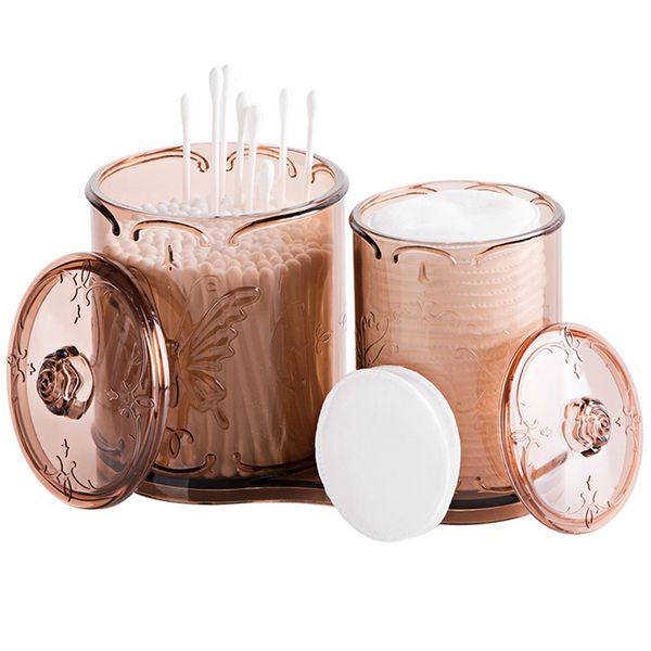 wholesale Transparent Cotton Swab Storage Box Makeup Organizer Cotton Pads Holder Cosmetics Container Make Up Organizer