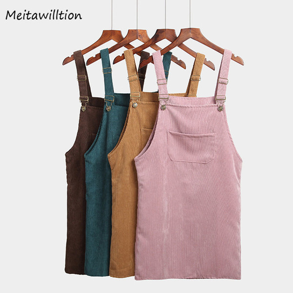 Meitawilltion Summer Women Skirts 2019 Casual Corduroy Suspender Overall Vest Jumpsuit Braces Skirt Lady Preppy Style Skirt Y19050602
