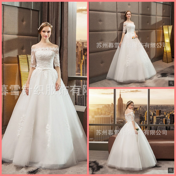 Robe de mariage ball gown white lace appliques wedding dress off the shoulder half sleeve with sashes bride gowns best selling