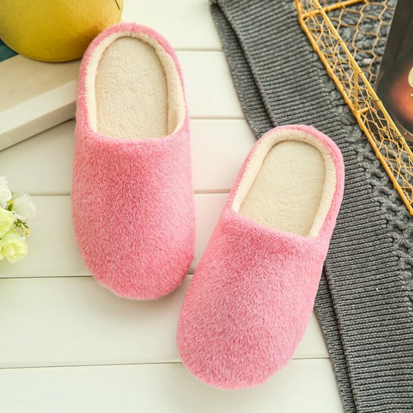 Zapatillas Mujer 2019 Interior de la casa de felpa suave lindo algodón zapatillas zapatos antideslizantes piso peludo zapatos de mujer para el dormitorio