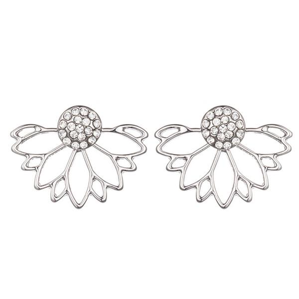 New Vintage Lotus Earrings Metal Bar Stud Earrings Fashion Ear Jacket Woman Jewelry Rose/Gold Plated / Silver tone