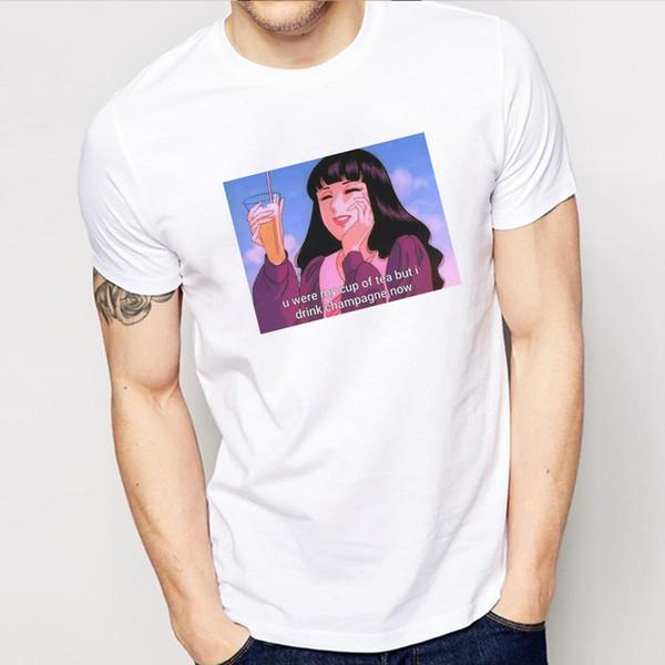 Sen benim tipim mıydı, Ama Şampanya Şimdi Grafik Tee Erkek Moda Baskılı Tumblr Tişört Grunge Estetik Gömlek Outifts İçecek