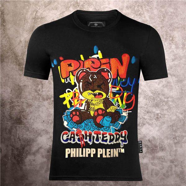 T-shirt in cotone a maniche corte cranio uomini della nuova maglietta stampata girocollo dimagrante moda T-shirt pullover di skateboard top 100% cotone da uomo