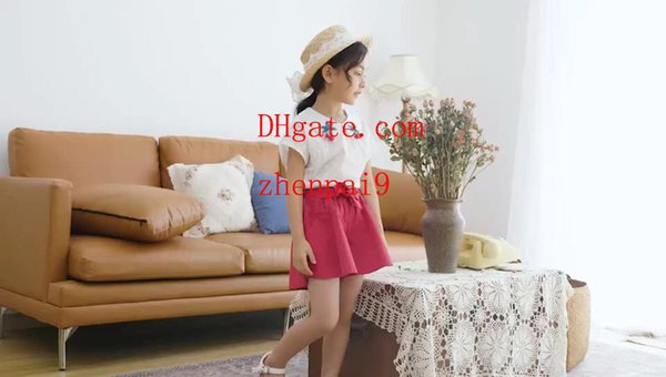 Kids Clothing Sets Two-piece Summer for Girls Cherry embroidery pattern Short Sleeve Cotton Pants Shorts Culottes kids tracksuits k-z2