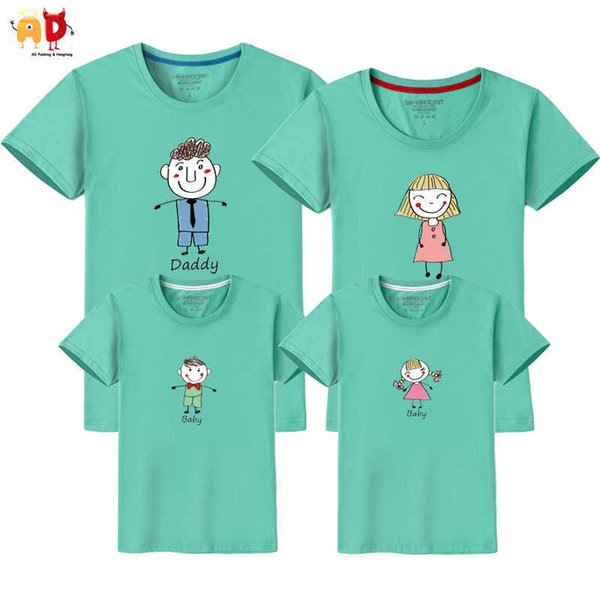 good quality 1PCS Sketch Dad Mom Son Daughter Family Matching T-shirts Summer Childrens' Clothi