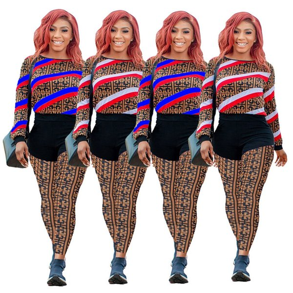 Women panelled 2 piece set striped tracksuit fall winter clothes sweatshirt pants sports set hoodies legging outfit pullover bodysuits 1832