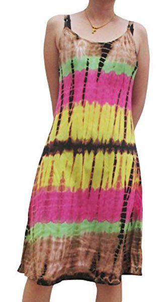 Raan Pah Muang Tie Dye Robe d'été en viscose et rayonne se tenant dans le dos
