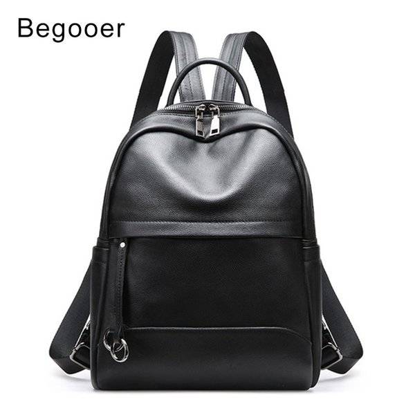 Begooer Fashion Genuine Leather Backpack Women Bags Preppy Style Backpacks Girls Shoulder Bag Zipper Soft Cow Leather Bagpack