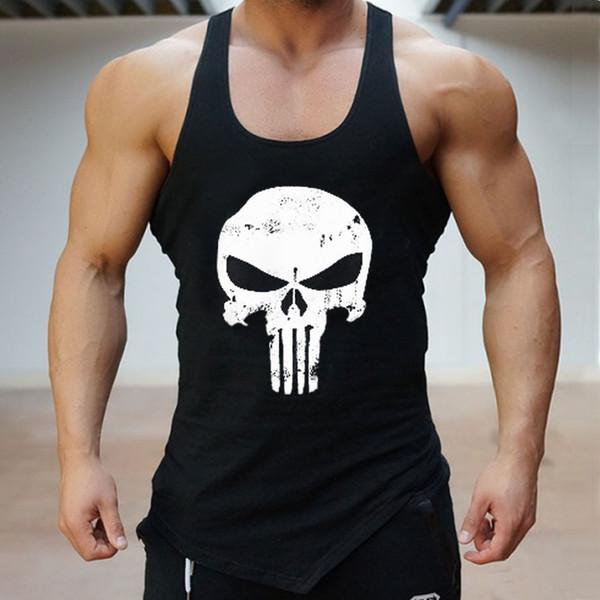 Schädel Gym T-shirt Baumwolle Männer Tank Tops Hürden Singuletts Bodybuilding Weste Übung Fitness Tragen Herren Sleeveless T-shirt