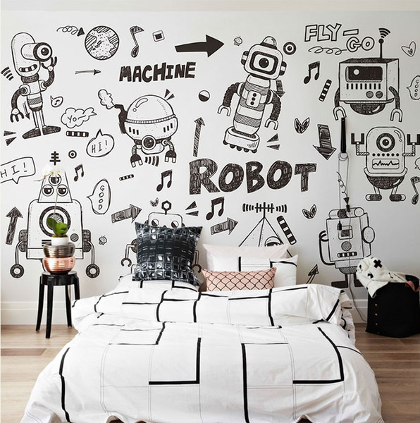 Cartoon black and white Wallpaper Mural 3d Wall Photo Mural for Kids Room Sofa Background 3d Robot Wall paper Mural Decor