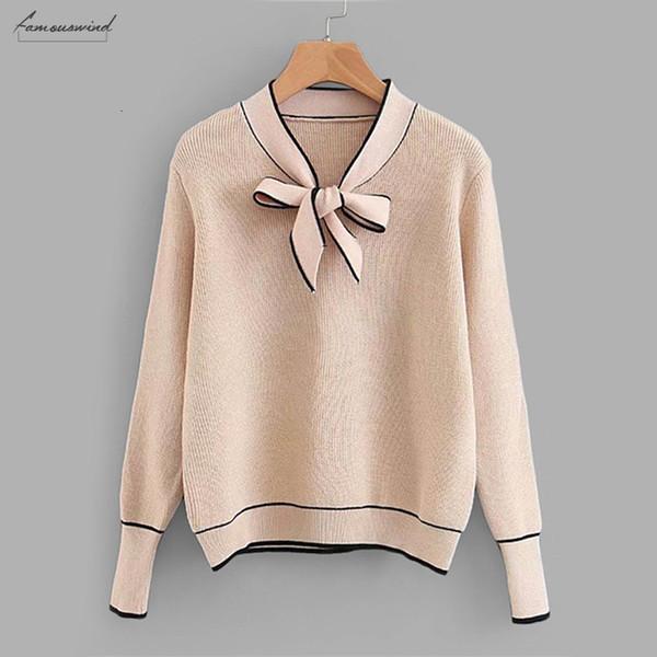 Contraste suéter Encuadernación Lazo del cuello Puente de albaricoque ocasional de las mujeres 2019 otoño Llanura correas de manga larga con capucha de las señoras