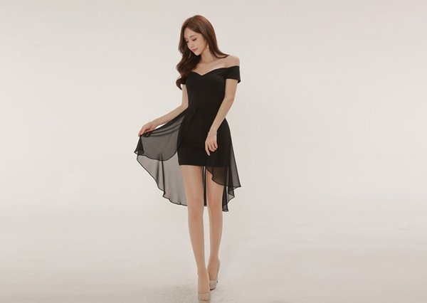 Hot Summer Wear Korean Sexy Slash Neck Chiffon Splicing Swallow Tail Dress Hip Black Skirt A0086