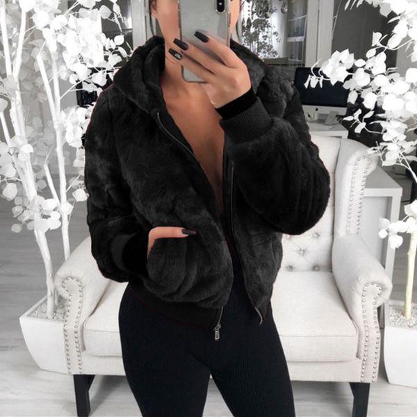 Nueva Faux del abrigo de pieles de las mujeres de gran tamaño con capucha caliente grueso abrigos Mujer sobretodo delgado Tops felpa del invierno de las chaquetas ocasional del bolsillo Outwear