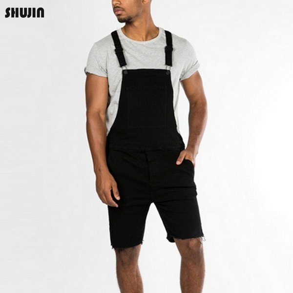 SHUJIN 2019 Mens Bib Overall Shorts Lightweight Casual Loose Fit Walkshort Jumpsuit Button Denim Rompers Male Summer Solid Jeans