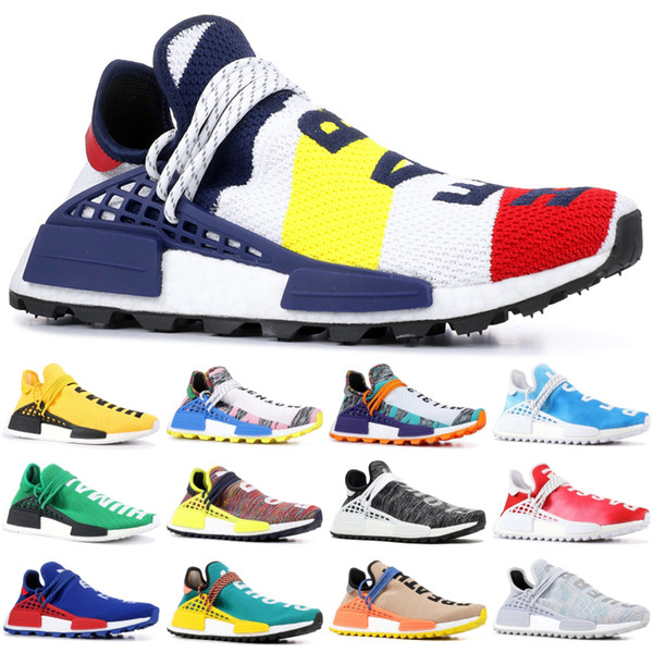 Pharrell Williams Humen Race BBC Multi Color Peace NMD Men Running Shoes Yellow Red Solar Pack Mother Women Designer Snesaker 36-47