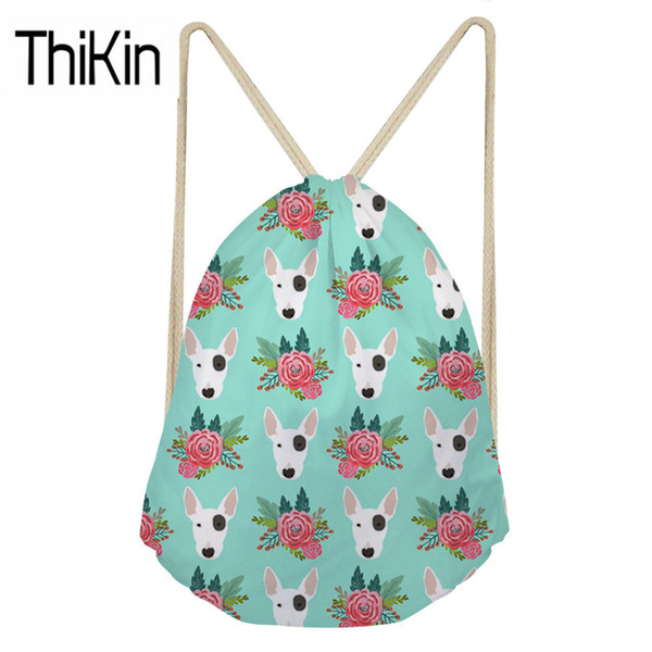 THIKIN Cute Women Pit Bull Terrier Printing Drawstring Backpacks Ladies Casual String Pouch for Kids Girls Mini Shoulder Bagpack