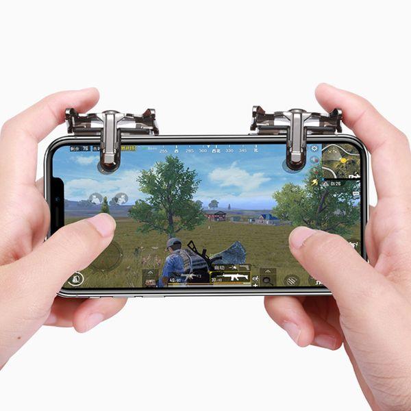 Luxury Four Finger Fire Aim Button Gun Trigger Joystick For Mobile Phone L1 R1 Shooter Controller Metal Key PUBG Game Gamepads