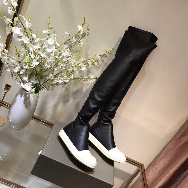 2019 primavera autunno donna donna nero VERA PELLE con elastico Pu coscia alta sopra il ginocchio pull su piattaforma piatta STIVALI da equitazione casual