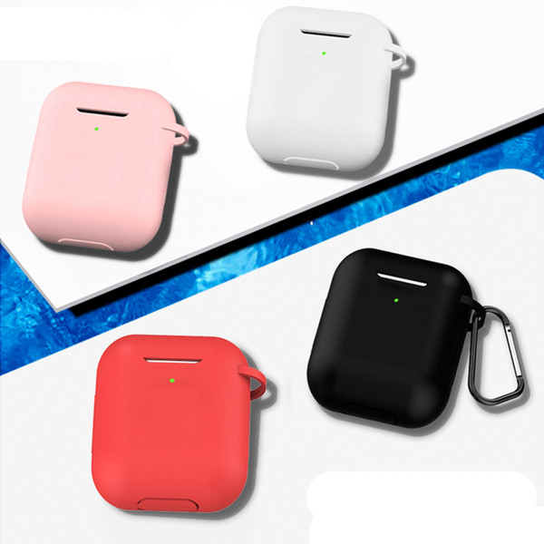 1000pcs Solid Color Silicone Case for Airpods2 Protective Earphone Cover for Apple Airpods 2 Wireless Charging Box Shockproof Case