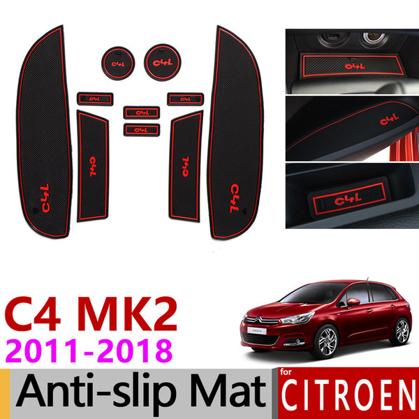 Anti-Slip Gate Slot Mat Rubber Cup Mats for Citroen C4 2011 2012 2013 2014 2015 2016 2017 2018 MK2 C4L Accessories Car Stickers