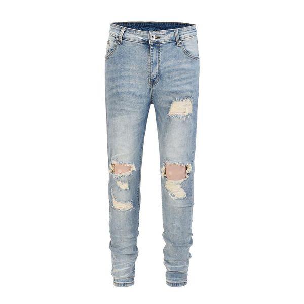 Skinny Fit Distressed Stretch Denim Jeans Hip Hop Streetwear Ripped Knee Hole Blue Biker Jeans Size 30-36