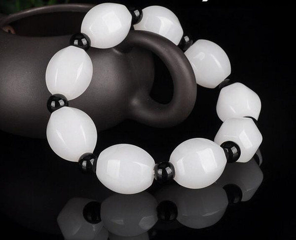 Natural Xinjiang white jade bracelet men's personality simple hand-woven fresh versatile beads bracelet