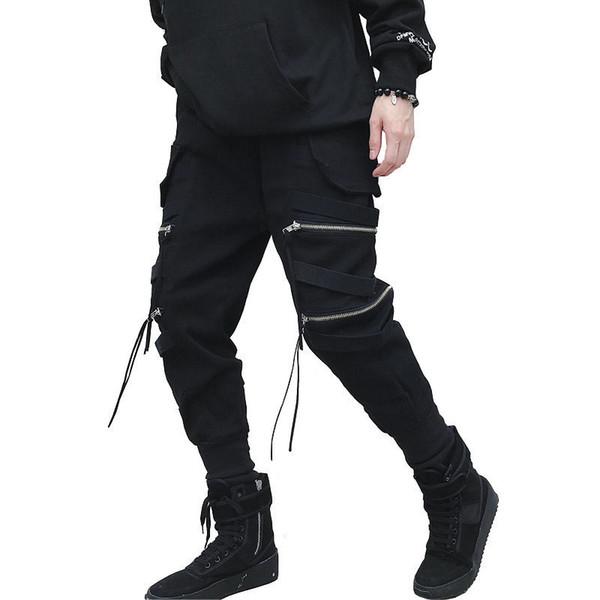 New Hip Hop Streetwear Corredores Homens Zíper Preto Fita Harem Pants Algodão Casual Fino Estilo de Rua Tornozelo Comprimento Sweatpants Homens Y190415