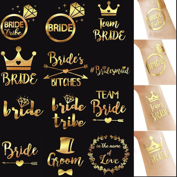1 Pc Fashion Waterproof Body Art Gold Temporary Tattoo Arm Sticker Bachelorette Party Bridesmaid Wedding Accessories Summer