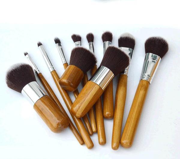 Set di pennelli per trucco di bambù Set di pennelli per cosmetici professionali Kit di ombretti per fondotinta Kit di strumenti 11pcs / set Trasporto DHL