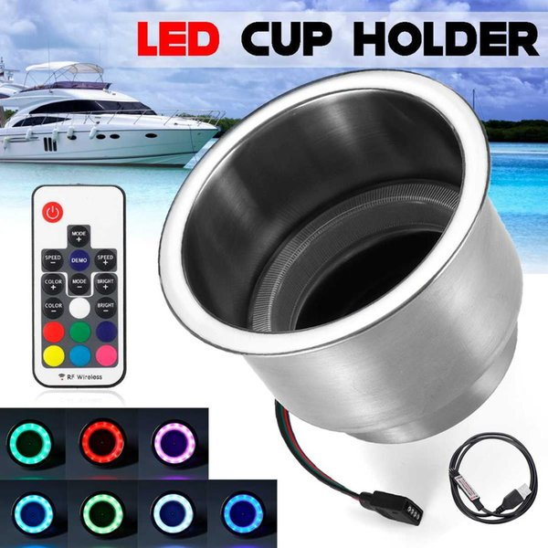 Stainless Steel Cup Holder with Wireless Control for Yacht Boat RV Car Anti-corrosion Energy Saving 14pcs Light Bulb 11 x 9cm