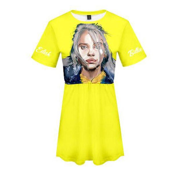 Compre Novas Mulheres Vestido De Verão Casual Billie Eilish Harajukku 3d Impressão Tendência De Moda Magro Manga Curta Adorável Verão Estilo Vestido