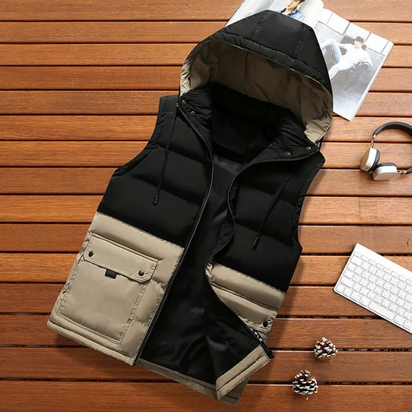 Men's Quilted Vest Jacket Padded Cotton Vest Autumn Winter Warm Coat High Quality Hooded Thick Mens Jacket Top