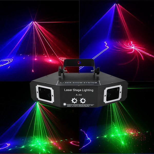 Bar Party Disco Luz láser RGB Luz de haz a todo color DMX DJ Efecto Proyector Escáner Láser Etapa Iluminación de flash Decoración navideña