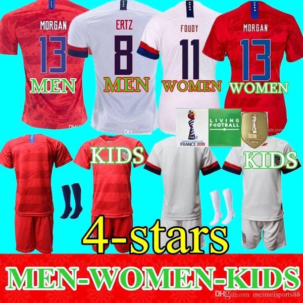 Homens Mulheres Crianças de Futebol Christian Pulisic Jersey Alex Morgan Julie Ertz Megan Rapinoe Imprensa Lloyd Heath Yedlin Dempsey Altidore Football Shirt